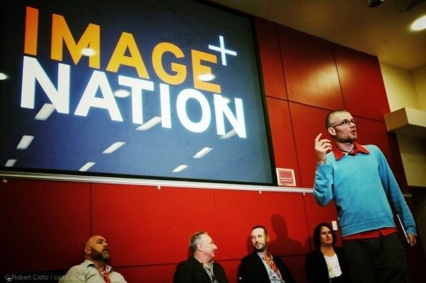 One photo from this weekend's Image Nation conference in Auckland - Orbis inventor James Madelin introduces a panel discussion of art directors.