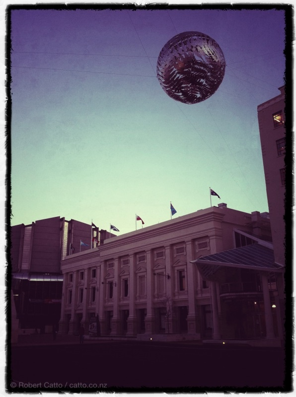 Early evening, Civic Square. (With Fernball again, obviously!)