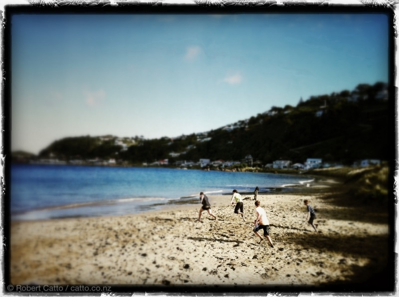 Today's test seems to be part of the Beach Rugby World Cup. Worser Bay, Wellington.
