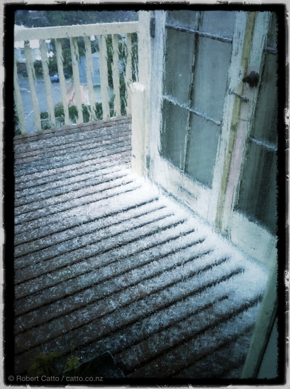 Um…here we go again! Ice pellets on the deck, landing much faster this time. Did I mention the lightning, too?
