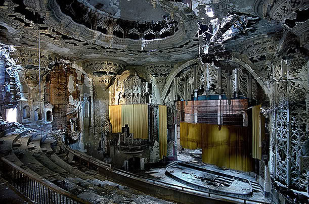 "Some images of heartbreaking beauty, if you love old cinemas and  theatres - and photography - as much as I do…   ""Yves Marchand and Romain  Meffre, who live outside Paris, photograph 20th-century ruins.  Although Europe has its own relics, they are drawn to America.   Among their favorite subjects are old movie palaces, built from the  1910s to the 1930s, when excitement about going to the movies was  immense and theaters — like the films they showed — constructed fantasy  and offered escape. Today, what remains of these spaces is poignant  evidence of what going to the pictures used to mean…"""