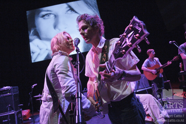 Dean & Britta played a great gig at Town Hall this week -  13 Most Beautiful  - featuring screen tests by Andy Warhol.   From my point of view, one of the great things about being at sound check is being able to get much closer than I would otherwise, because there's no audience in the venue!  This is on-stage with a 16mm lens, practically touching the head of his guitar…