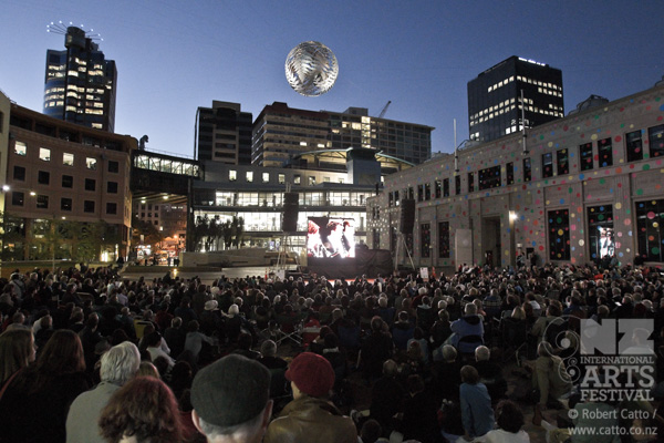 New photo gallery at  the Festival site  from the Mahler Symphony No. 8 concert the other night - this is the crowd in Civic Square watching the free, live feed - and more to come (Sutra, Sound of Silence, Transports Exceptionnels…) when I've processed more images!   I've seen (well, with one eye through a tube) some great shows so far - definitely worth getting to  Transports Exceptionnels  today if you have a chance, at 2pm & 5pm in Waitangi Park.    Sutra  looks great (but I was always going to love something with Shaolin kung fu!), and  Sound of Silence  is exactly the kind of theatre I like - I'm surprised it hasn't been to  World Stage  in Toronto, frankly!  Montreal & Quebec, yes; Toronto, no?