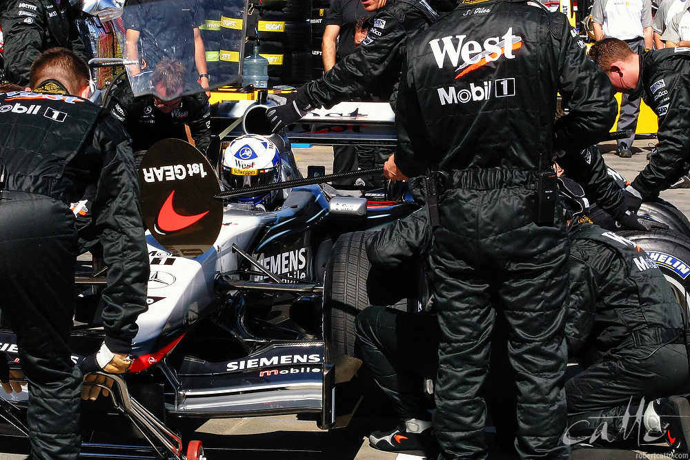 McLaren crew practicing a pit stop at the first race of the year, Melbourne 2003