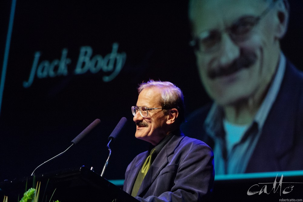 Jack Body receiving the Arts Foundation Laureate Award, at the St James Theatre in Wellington, 2004.