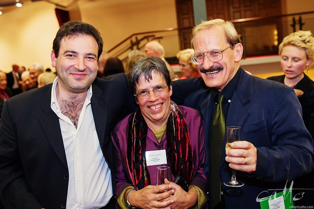 Composers John Psathas, Gillian Whitehead and Jack Body celebrate at the Arts Foundation Laureate Awards in Wellington, 2004.