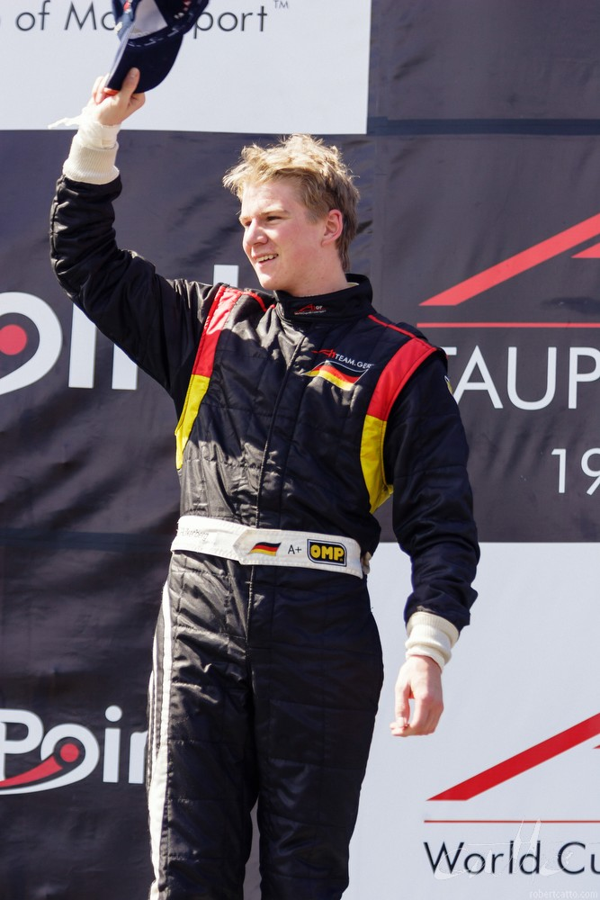 Nico Hulkenberg atop the podium at the A1 Grand Prix, Taupo.