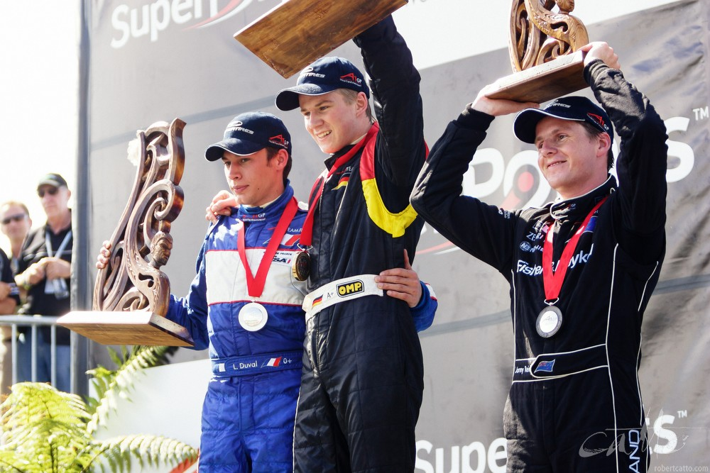 Loic Duvall, Nico Hulkenberg and Jonny Reid after the A1 Grand Prix in Taupo.