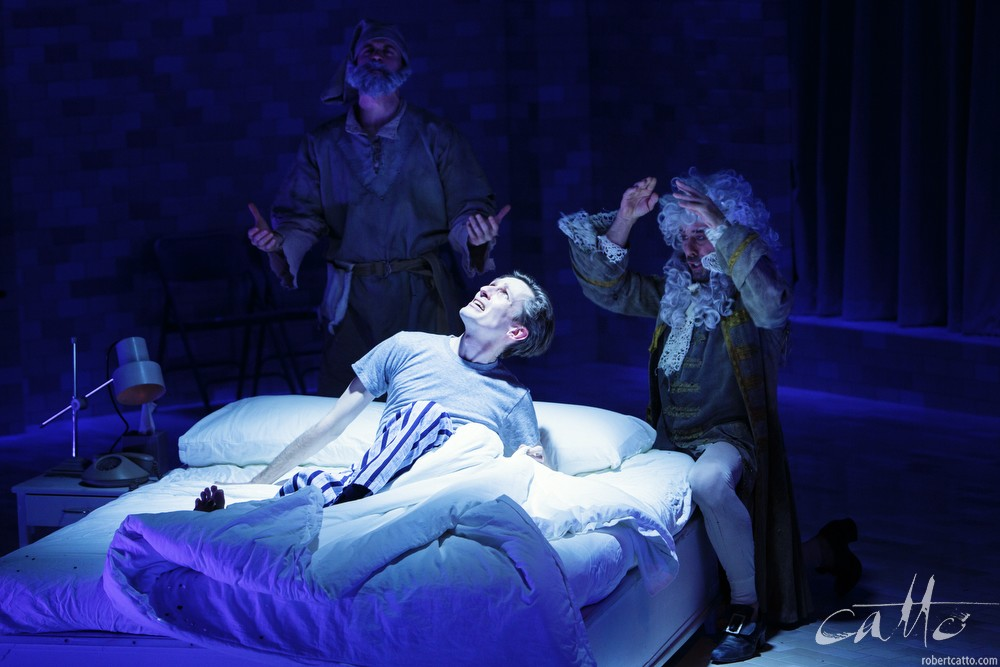 Ashley Zukerman, Luke Mullins and Marcus Graham in Angels In America at Belvoir Theatre.
