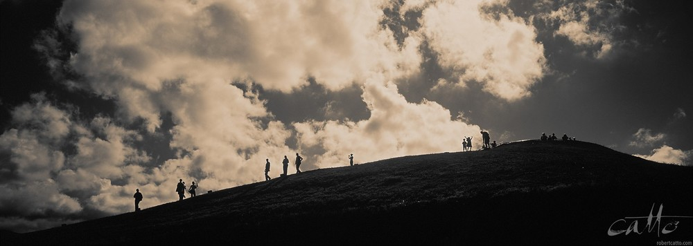Visitors walk back from the summit of Mount Victoria in Wellington, New Zealand. [Click to embiggen]