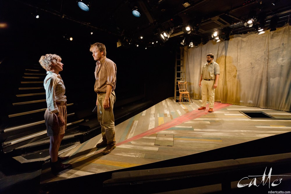 Francesca Savige, Grant Cartwright, and Bjorn Stewart in Thomas Murray and the Upside Down River at Griffin Theatre. (See the shape of the stage?)