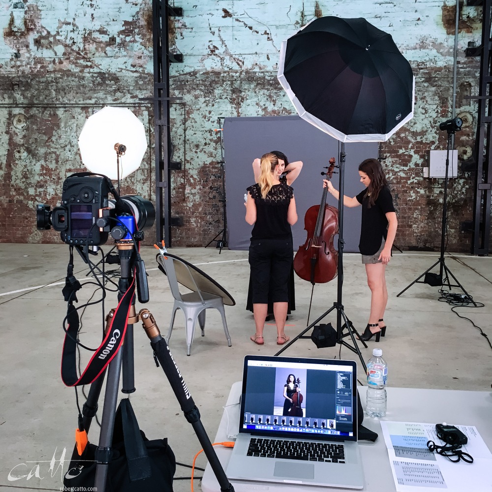 Behind the scenes of the portrait shoot, on location at Carriageworks