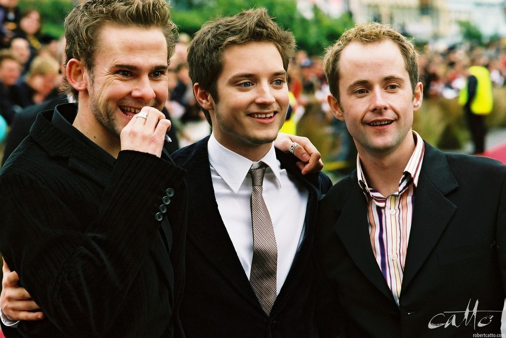 Dominic Monaghan, Elijah Wood & Billy Boyd at the Australasian Premiere of The Lord Of The Rings: The Fellowship Of The Ring in Wellington, New Zealand. -
