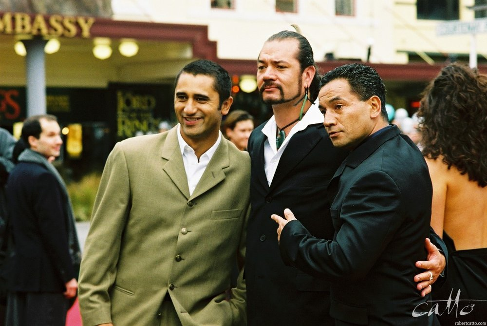 Cliff Curtis, Lawrence Makaore and Temuera Morrison at the Lord Of The Rings: Fellowship Of The Ring Premiere at the Embassy Theatre, Wellington, New Zealand.