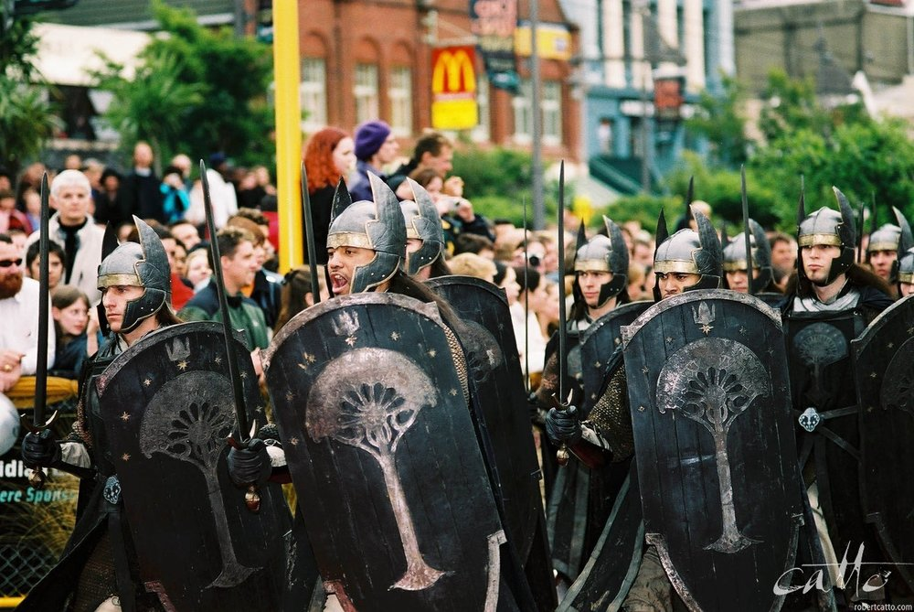 The Gondorian army make an appearance at the premiere