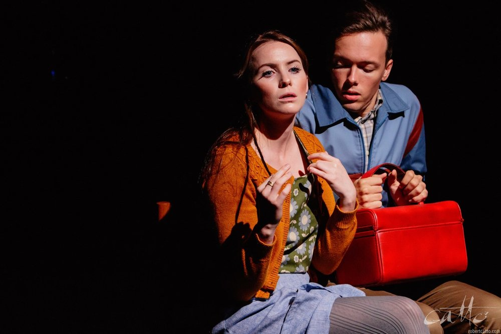 Charlotte Hazzard as Sophie and James Raggatt as Jonah in Blink at Bakehouse Theatre, Kings Cross