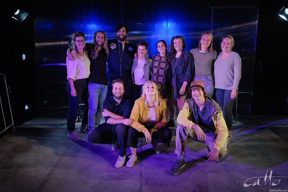 The cast & crew of Wasted on stage at the Factory Theatre