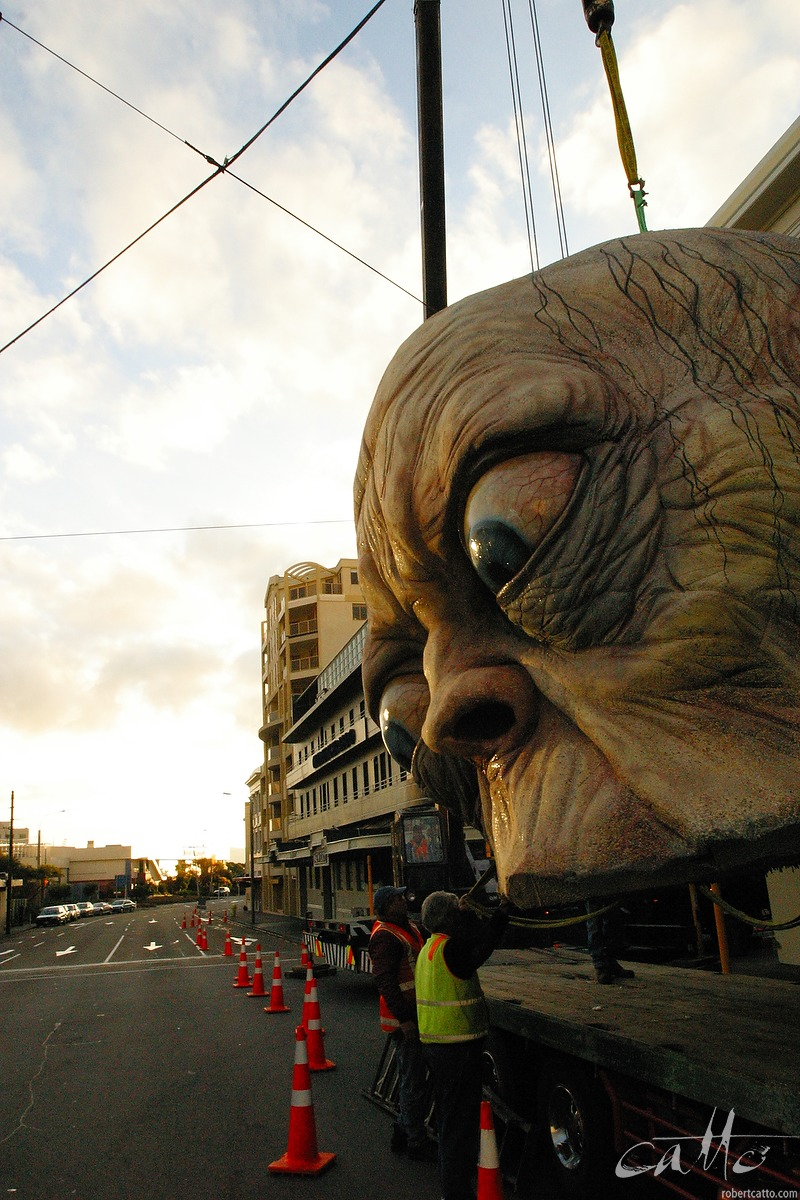 Months later, Weta Workshop's sculpture of Gollum is removed from the roof of the Embassy Theatre in Wellington