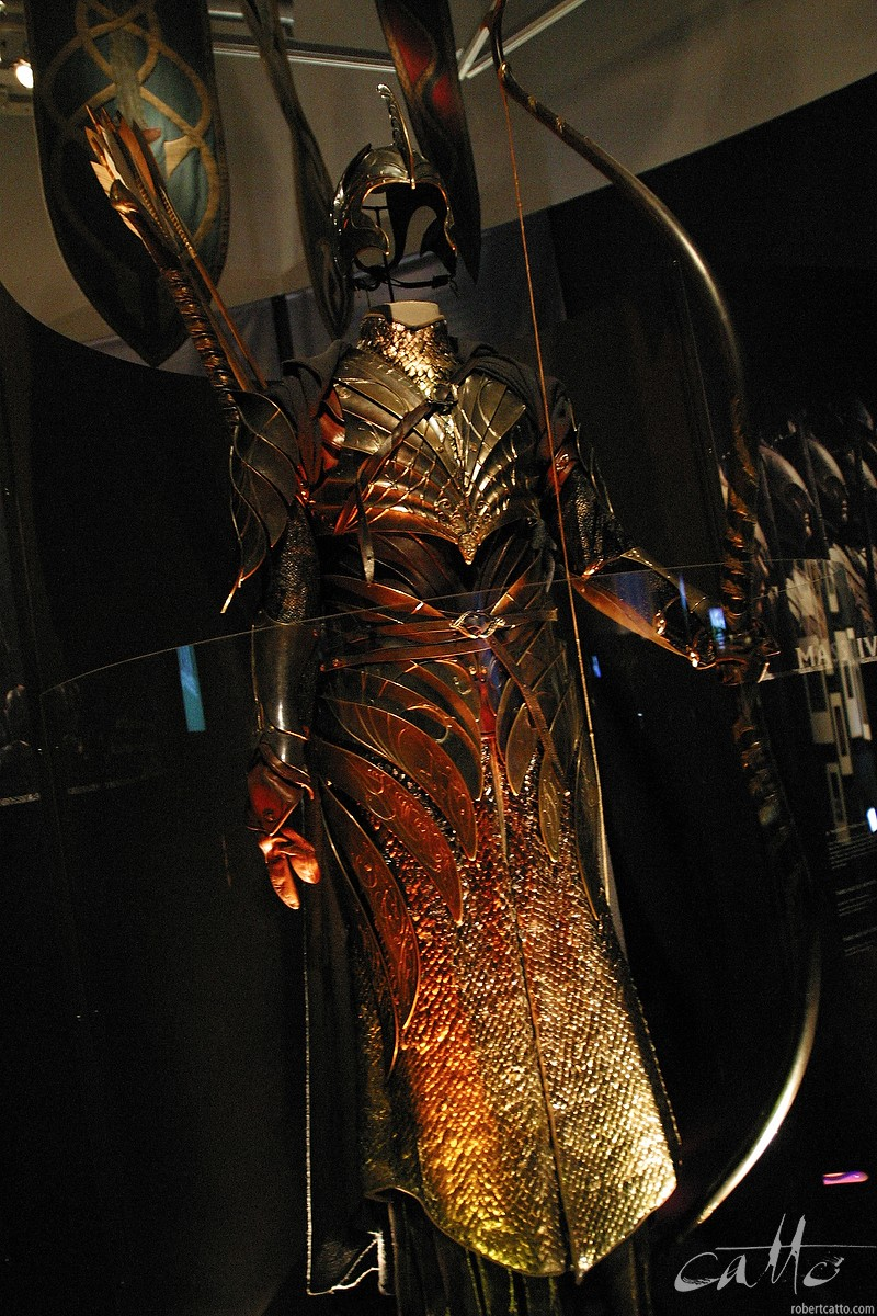 Elven archer armour from Helm's Deep, part of the Lord Of The Rings exhibition.