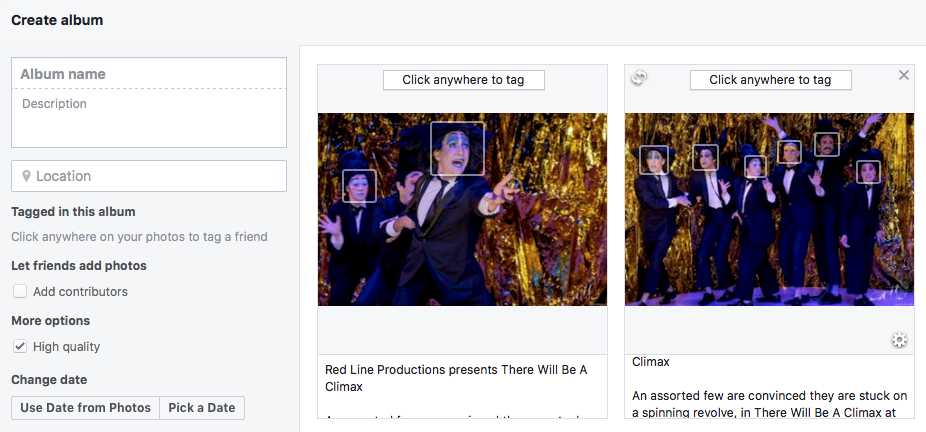 Creating an album in Facebook - the Headline and Description fields are automatically filled in from the metadata!