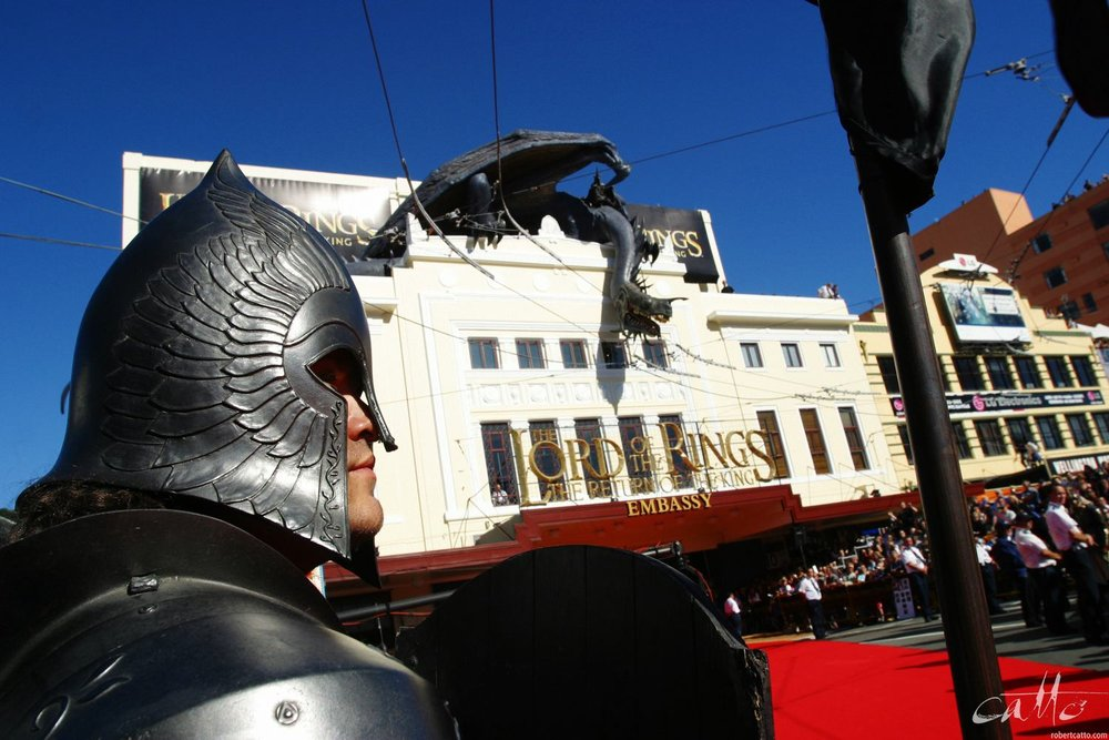 A lone Gondorian stands guard on the red carpet at the World Premiere of The Lord Of The Rings: Return Of The King on Dec 1, 2003.