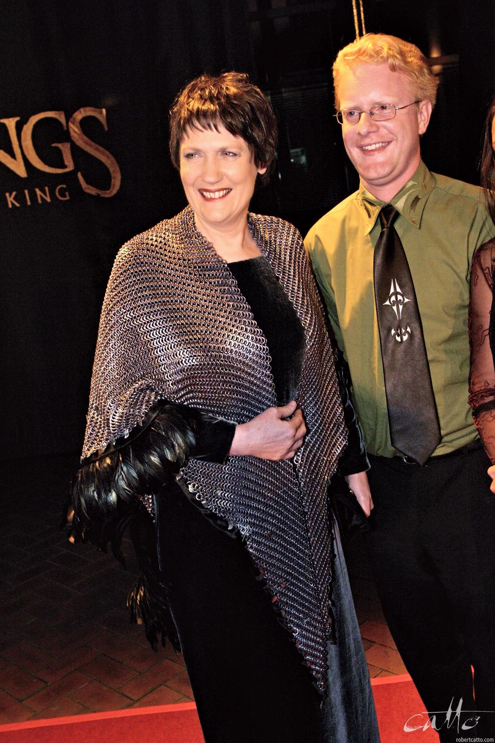 New Zealand Prime Minister Helen Clark wears a chain maille wrap by Weta Workshop at the World Premiere of The Lord Of The Rings: Return Of The King.