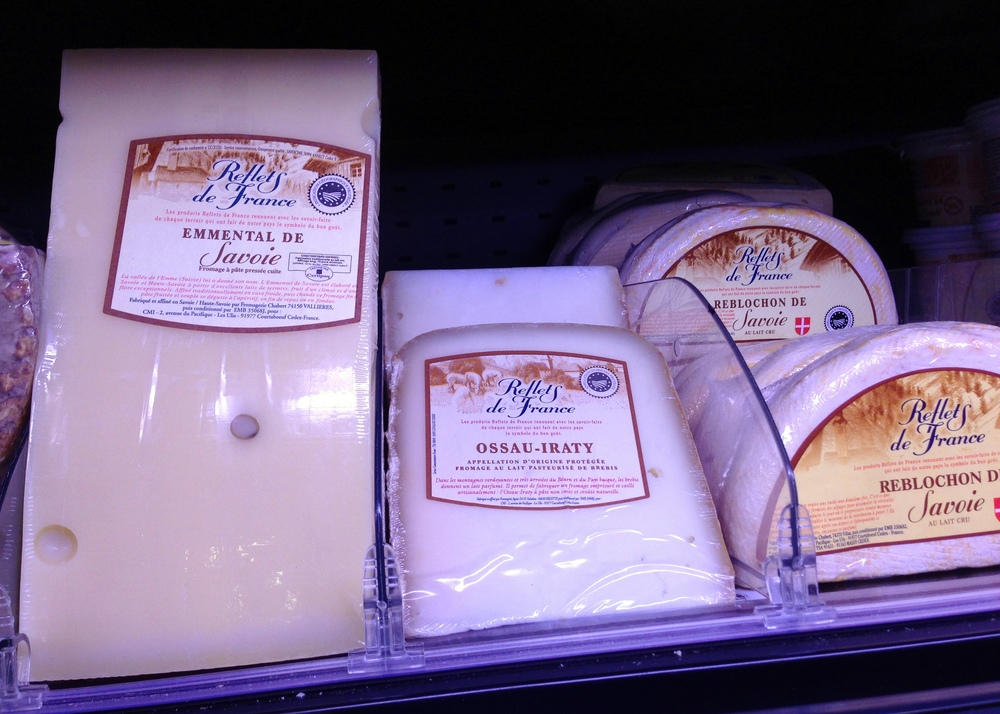 Ossau-Iraty in a refrigerated display at the supermarket.