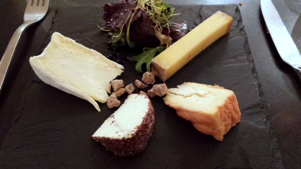 Clockwise from the top-right: Comté,  Ami du Chambertin , Délice de Pommard, and young and very moist Brillat-Savarin. This is the cheese plate from the very good  L'Ô à Bouche in Levernois , just outside of Beaune. Not pictured: the  Marc de Bourgogne  (French version of  grappa ) that I had afterwards!