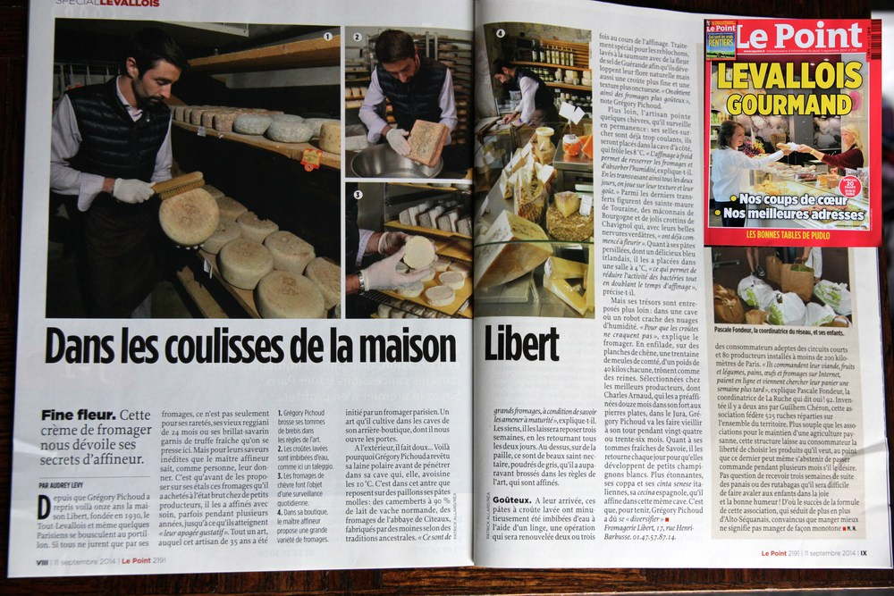 Article on Fromagerie Libert in the Levallois Gourmand edition of Le Point magazine (Sept 11 2014 no 2191) / Article sur la Fromagerie Libert dans l'édition« Levallois Gourmand » du magazine hebdo Le Point (11 septembre 2014 n° 2191)