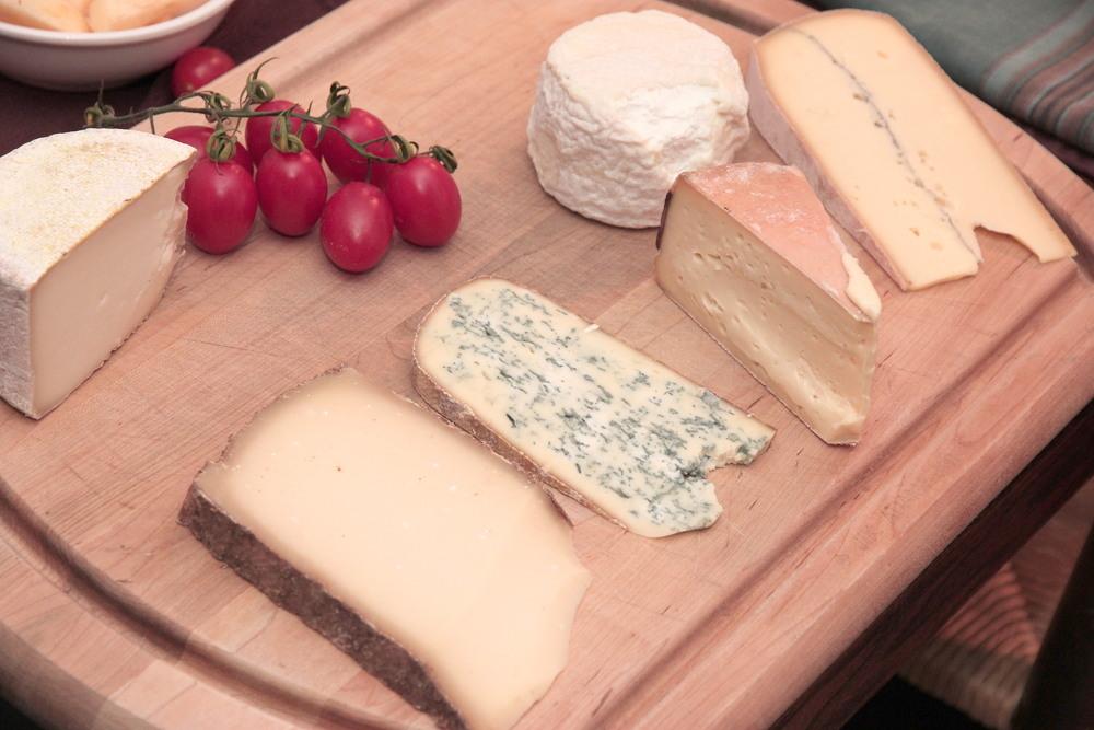 The haul, from top left, clockwise: tomme d'Espelette, Bonde d'Antan, Morbier, Moelleux de Revard, Bleu de Gex, L'Etivaz.