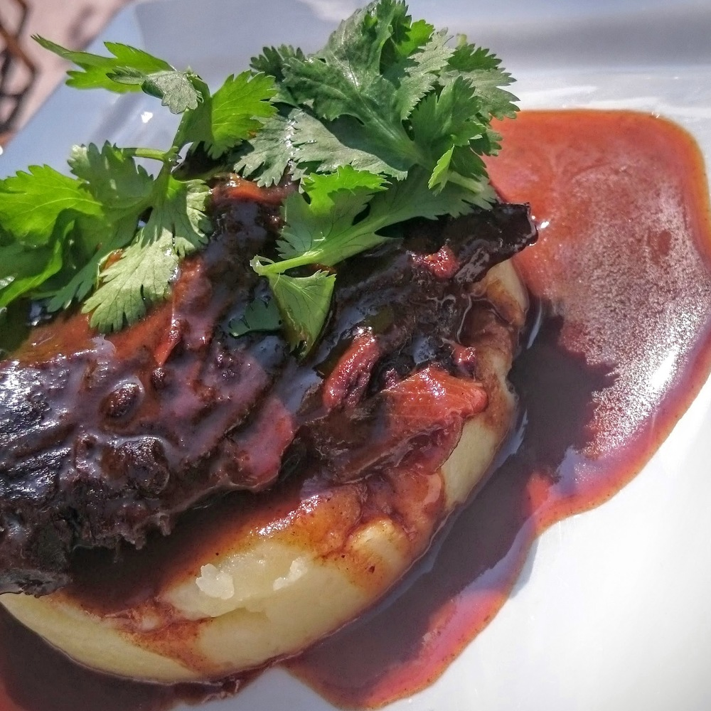 Beef cheeks with five spice over purée