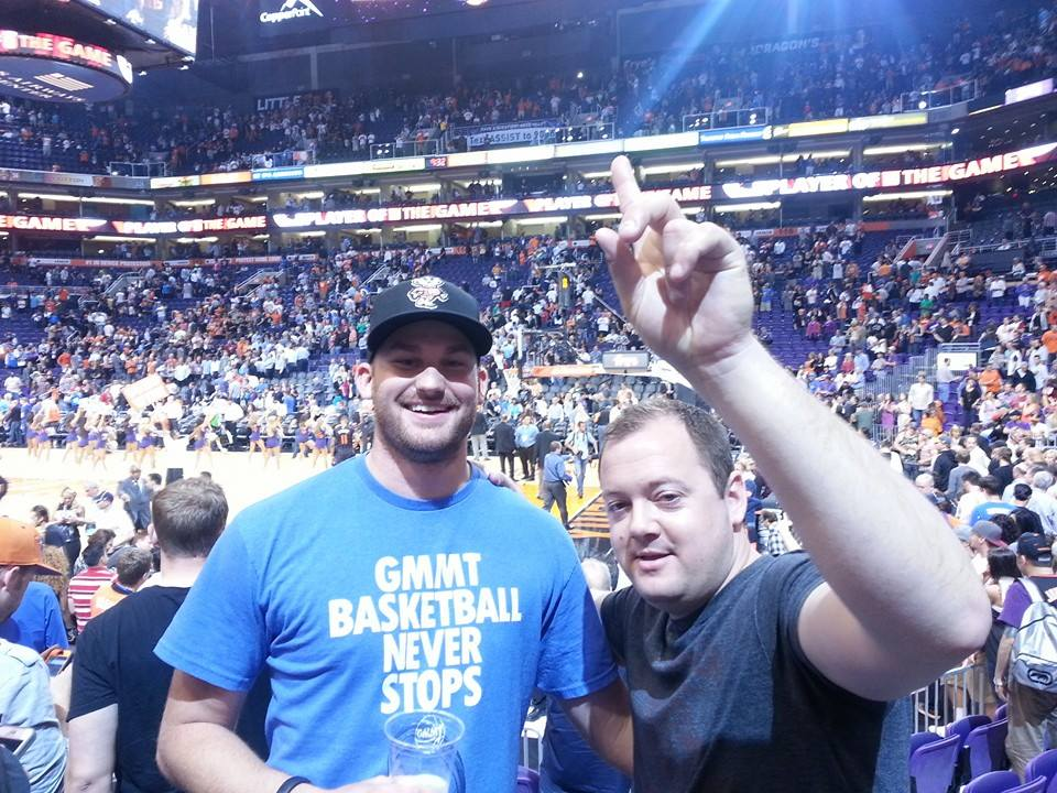 Steve and Paul after the Phoenix Suns beat the Oklahoma City Thunder in March 2014.