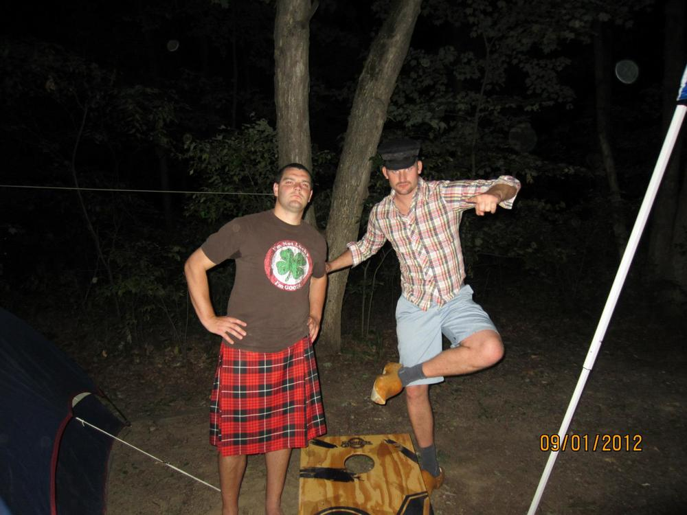 Jake (representing the Irish) and Steve (representing the Dutch) dressed to the 9s at Beer Olympics 2012, Labor Day weekend in Wisconsin Dells. Also known to the group of friends as Best Weekend Ever Part 2.