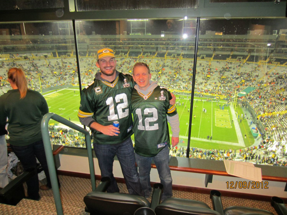 Steve and Travis living the suite life at Lambeau during the Packersvs. Lions game in December 2012. The Packers beat the Lions, like they've done for the past 25 years.