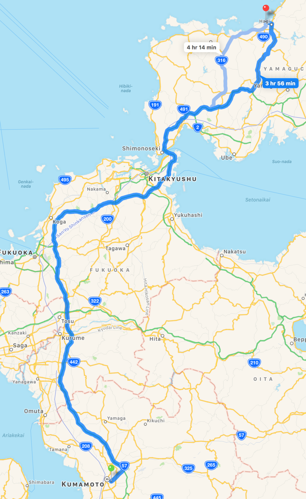 First run for the morning and early afternoon: Kumamoto to Hagi; that blue ¾ up is where the bridge from Kyushu to Honshu is located.