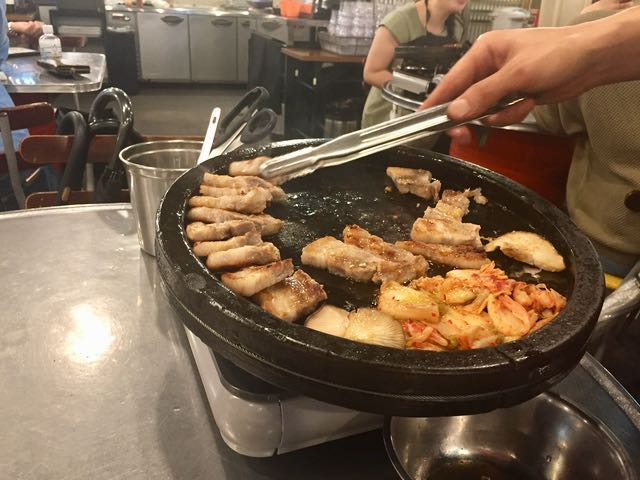 Korean yakiniku, a kind of grilled meat and vegetable meal cooked at the table