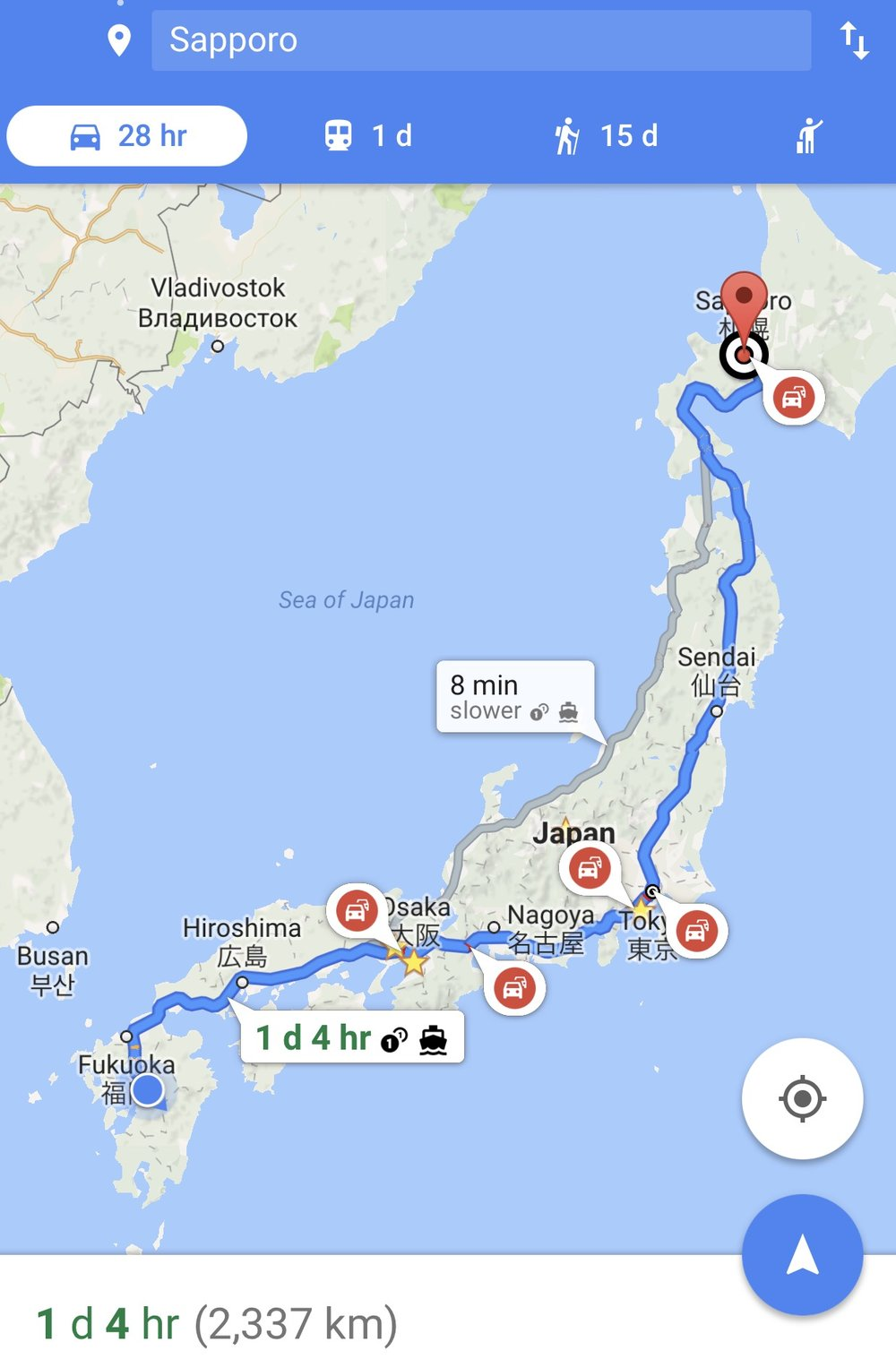 Kumamoto to Sapporo: 28 hours of driving, plus charging, sightseeing and sleeping