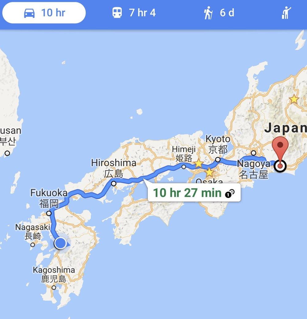 Leg one: Kumamoto to Hamamatsu SA and Supercharger