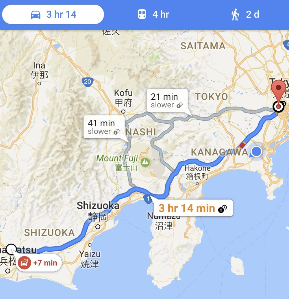 Day Two's goal: Hamamatsu SA to Tokyo, with a stop at the Yokohama service center in Totsuka