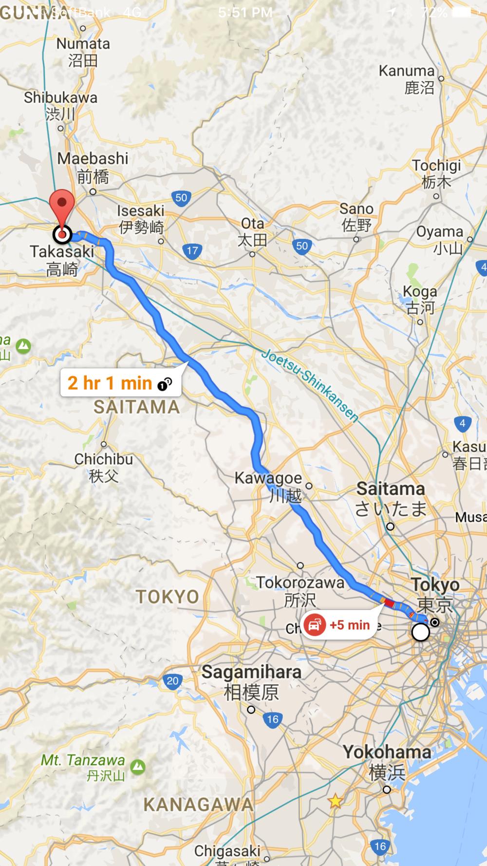 Tokyo to the Takasaki, Gunma Supercharger