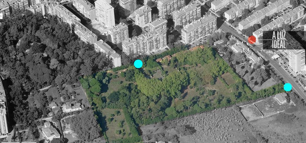Vista aérea do Parque Bensaúde. A vermelho a localização d' A Luz Ideal, a azul a localização das entradas do parque (à direita o acesso pela Estrada da Luz, ao centro o acesso pela Rua Francisco Baía.)
