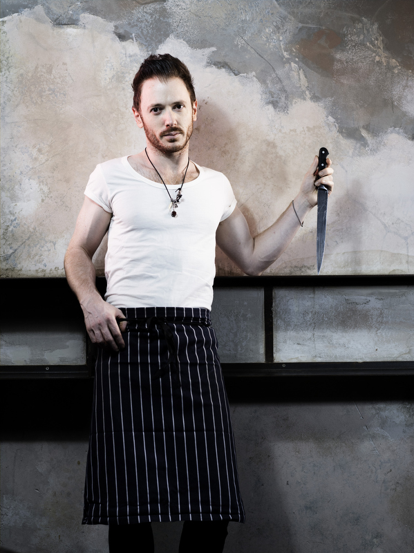 Chef Ollie Dabbous in his restaurant near Goodge Street, for a T2 feature