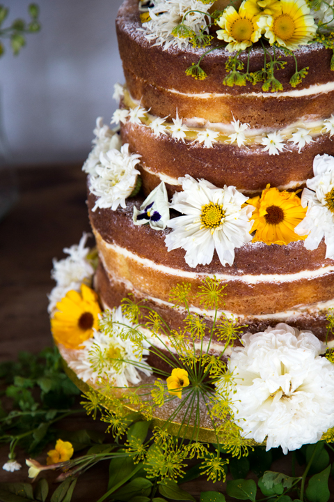 wedding cake decorated with flower