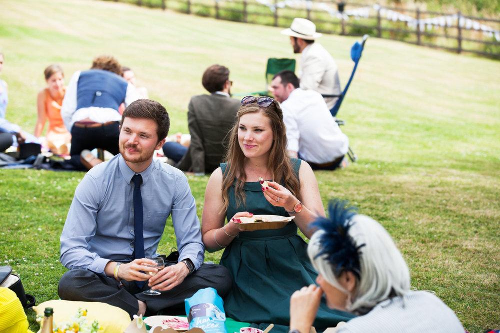 bridesmaid at wedding picnic