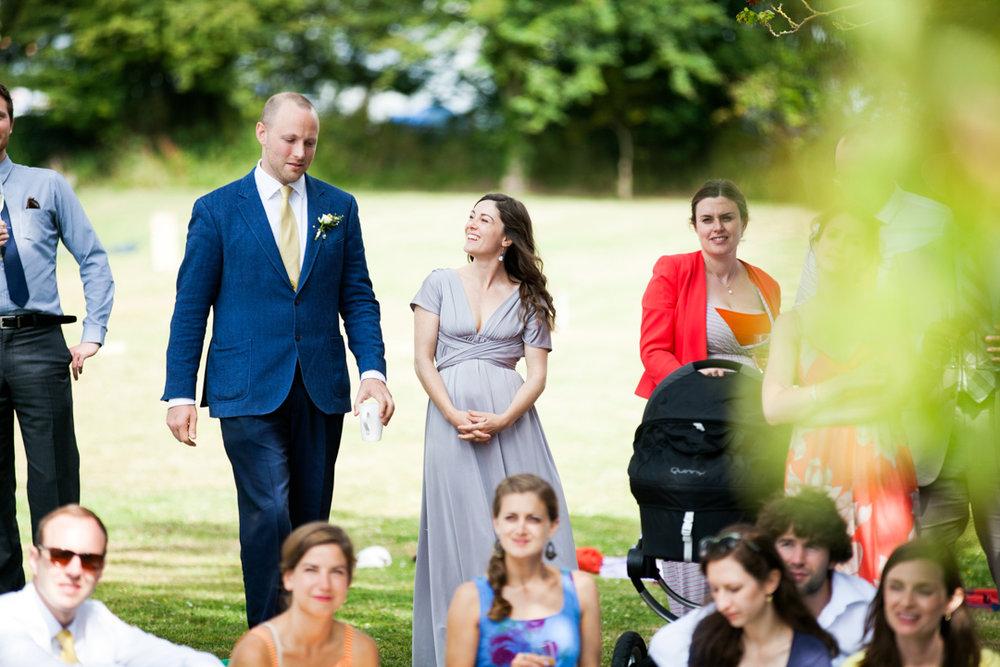 wedding guest in long grey dress