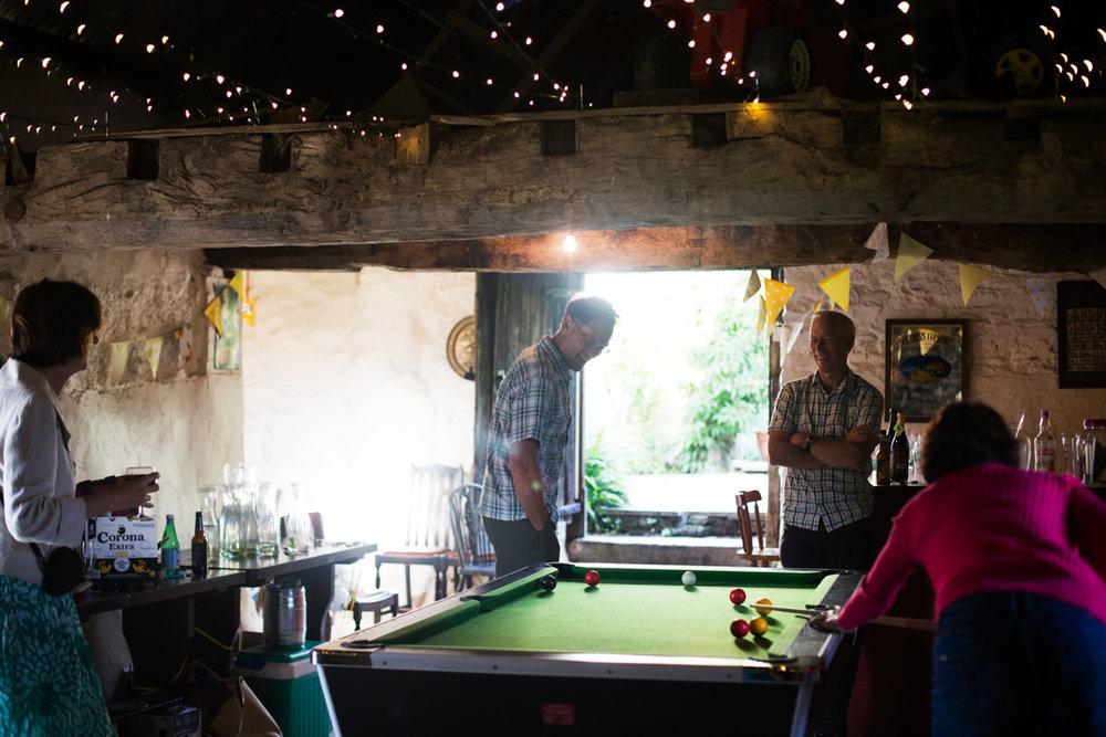 playing pool at wedding