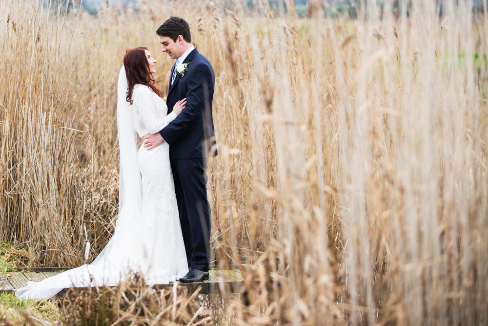 bride and groom at Quantock Lakes,