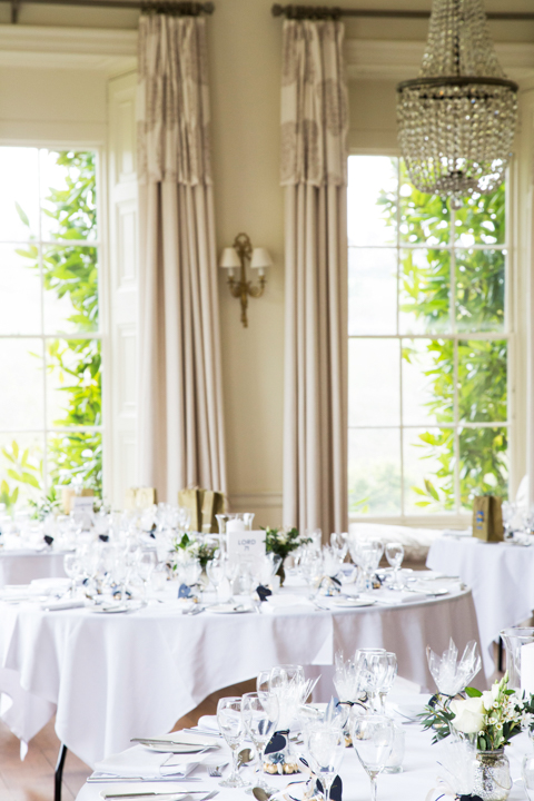 wedding breakfast room with windows