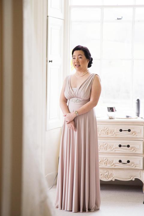 bridesmaid in long dress