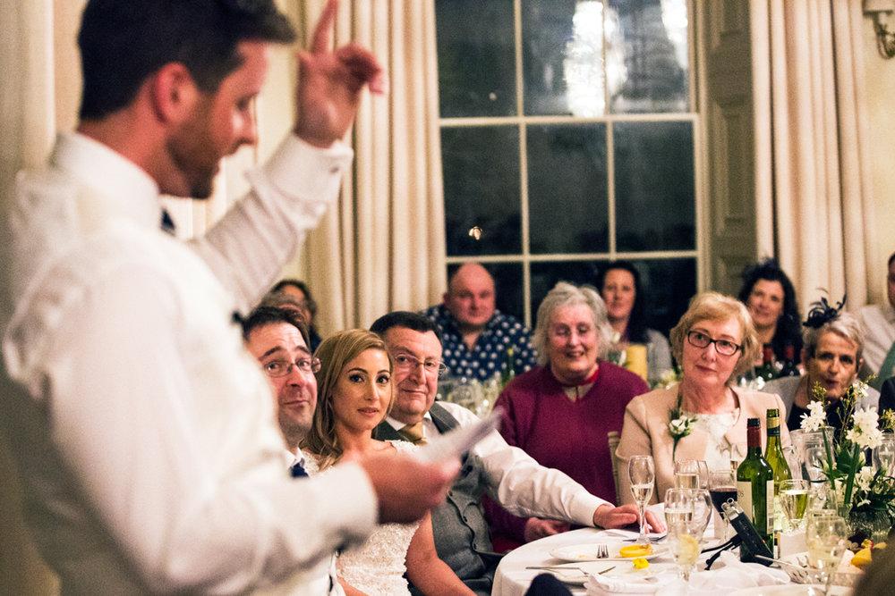 groom makes speech Pynes House